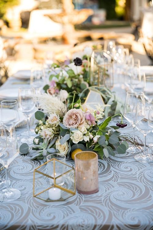 Seamist Nautilus Table Linen, Silver Swirl Table Cloth, Blue Swirl Table Cloth
