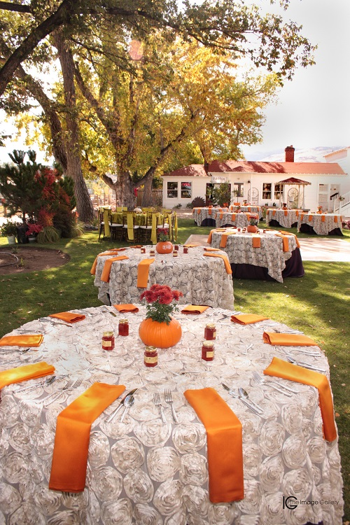 Pumpkin Lamour Table Linen, Orange Table Cloth, Ivory Rosette Table Cloth