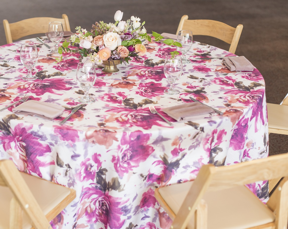 Renoir Table Linen, Pink Floral Table Linen, Pink Purple Floral Table Linen