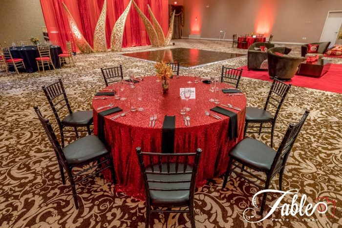 Ruby Sequin Table Linen, Red Sequin Table Cloth