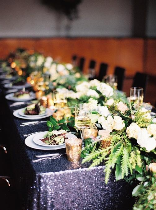 Navy Sequin Table Linen, Dark Blue Sequin Table Cloth