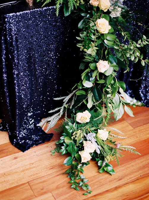 Navy Sequin Table Linen, Dark Blue Sequin Table Cloth
