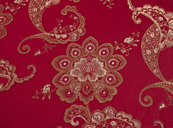 Sangria Palazzo Table Linen, Red and Gold Paisley Table Cloth