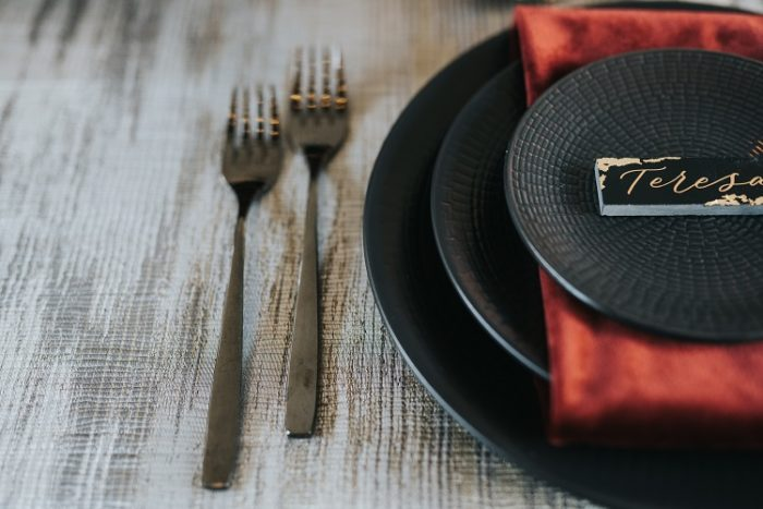Black Abstract Reverse Table Linen, Silver Abstract Table Cloth