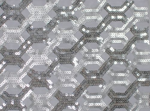 Silver Geometric Sequin Table Linen, Silver and Sheer Sequin Table Cloth