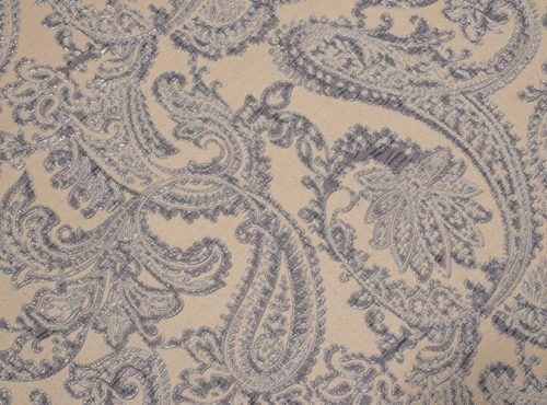 Silver Martinique Reversible Table Linen, Grey Paisley Table Cloth