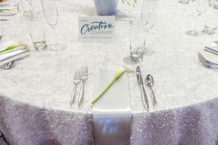 Rable Photo, PJs Flowers, Chateau Luxe, Silver Shag Linen, Tinsel Linen, Silver Dupioni Napkin