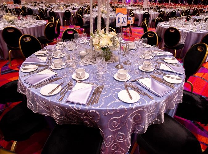 Soho Table OVerlay, White Swirl Sheer Table Linen