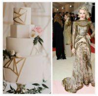 Gold Metallic Wedding Trends, Gold Geometric Wedding Cake