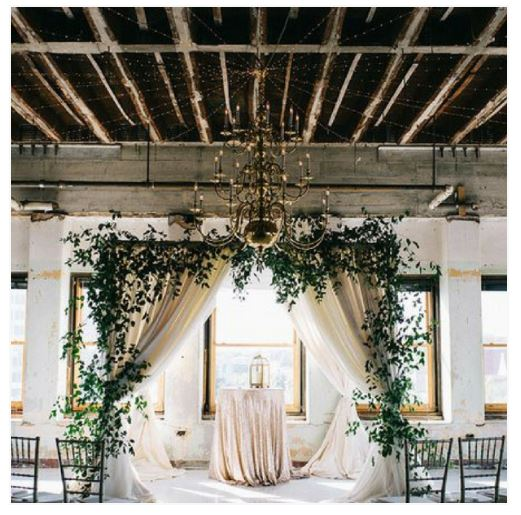 Blush Sequin Linen, Greenery Arch, Drapery Arch