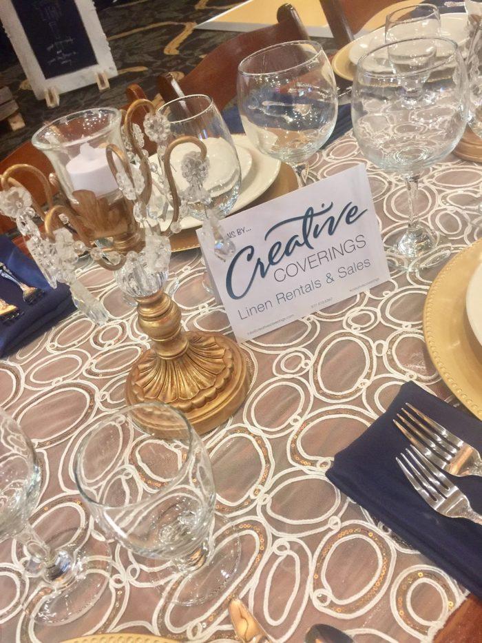 Champagne Elliptic Sequin Table Runner, Sheer Table Runner