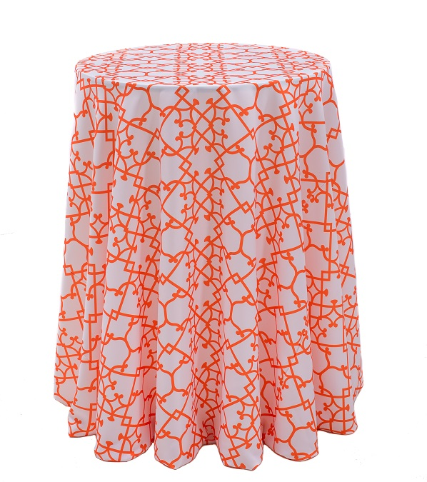 Tangerine Versailles Table Linen, Orange Pattern Table Cloth