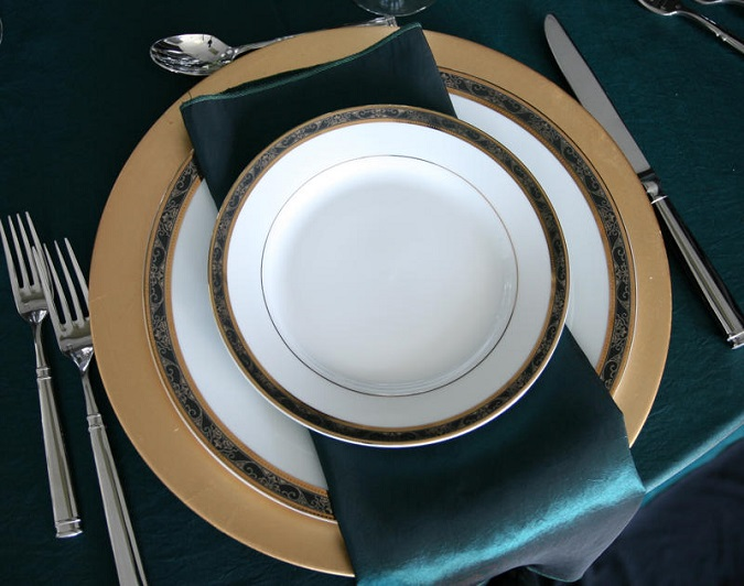 Teal Taffeta Table Linen, Teal Table Cloth