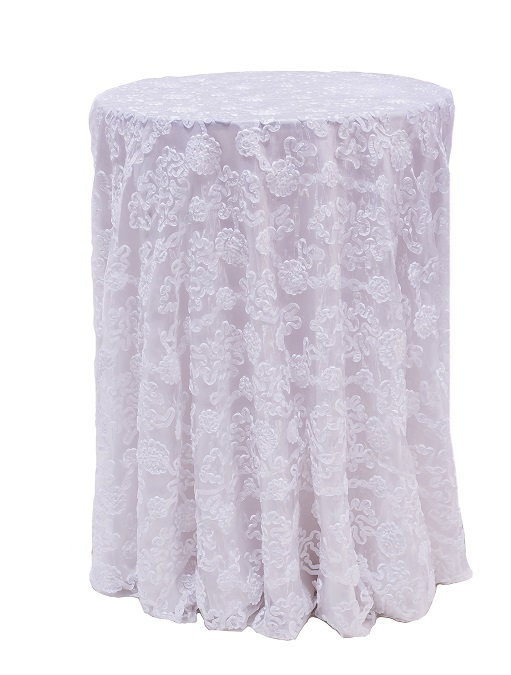 White Luxury Organza Table Linen, White Dimensional Table Cloth