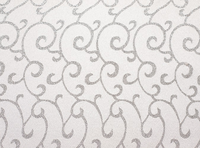White & Silver Metallic Swirl Table Linen
