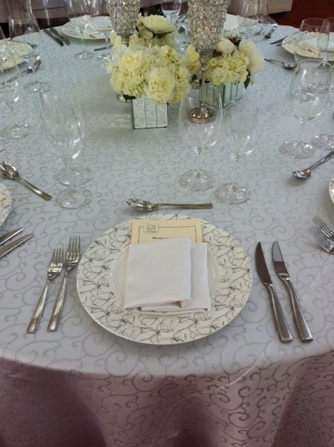 White and Silver Metallic Swirl Table Linen