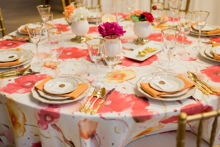 Monet Floral Table Linen, Pink Flower Table Cloth