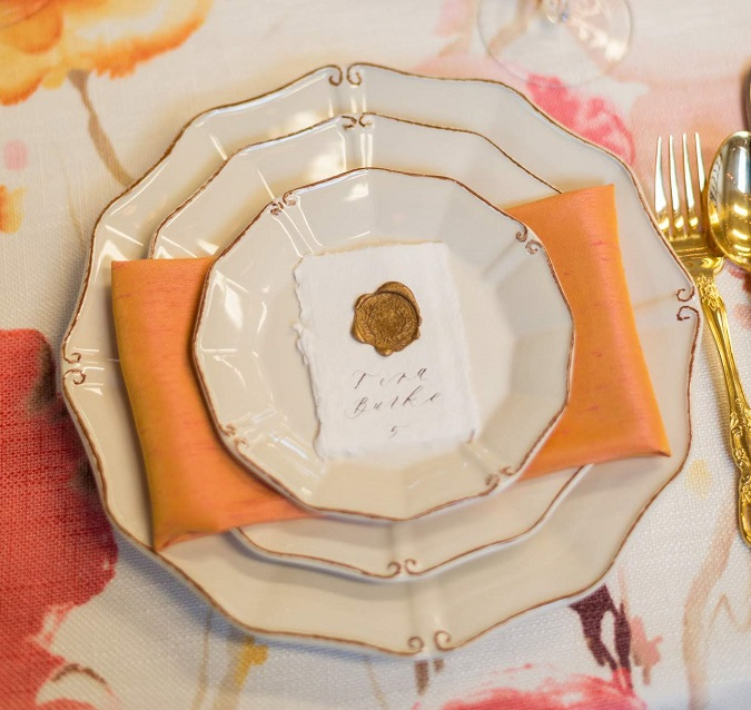 Papaya Dupioni Napkin, Pink Orange Table Linen