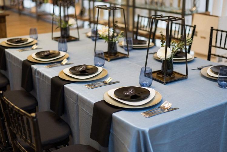 Cornflower Blue Shantung Table Linen, Light Blue Table Cloth