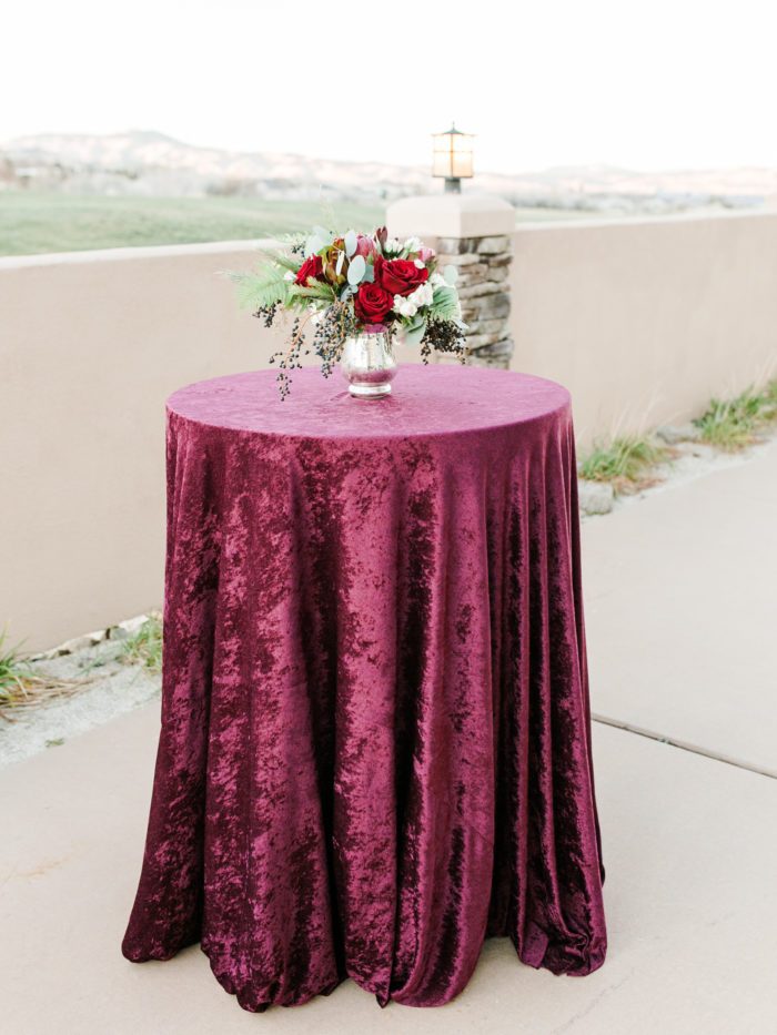 Burgundy Velvet, Arrowcreek Country Club, Camelot Party Rentals, Petal to the Metal Floral