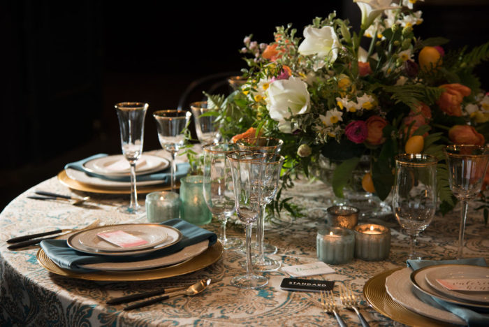 Teal & Gold Martinique Table Linen, Blue Paisley Table Cloth, Blue and Gold Table Cloth