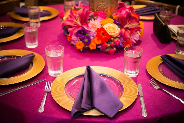 Fuchsia Lamour Table Linen, Bright Pink Table Cloth, Purple Lamour Napkin
