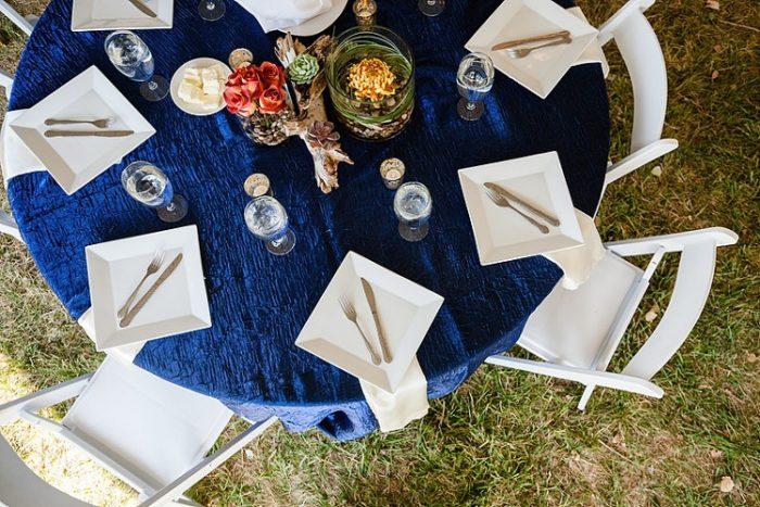 Sapphire Crush Table Linen, Dark Blue Crush Table Cloth