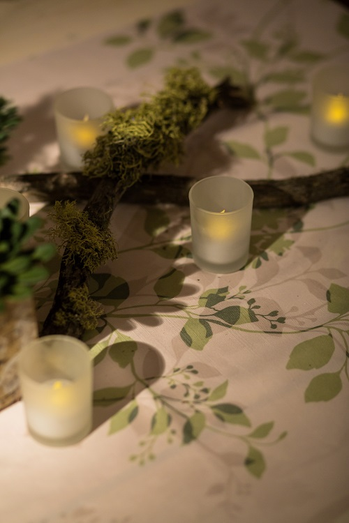 Pear Flora Table Linen, Green Flower Table Cloth