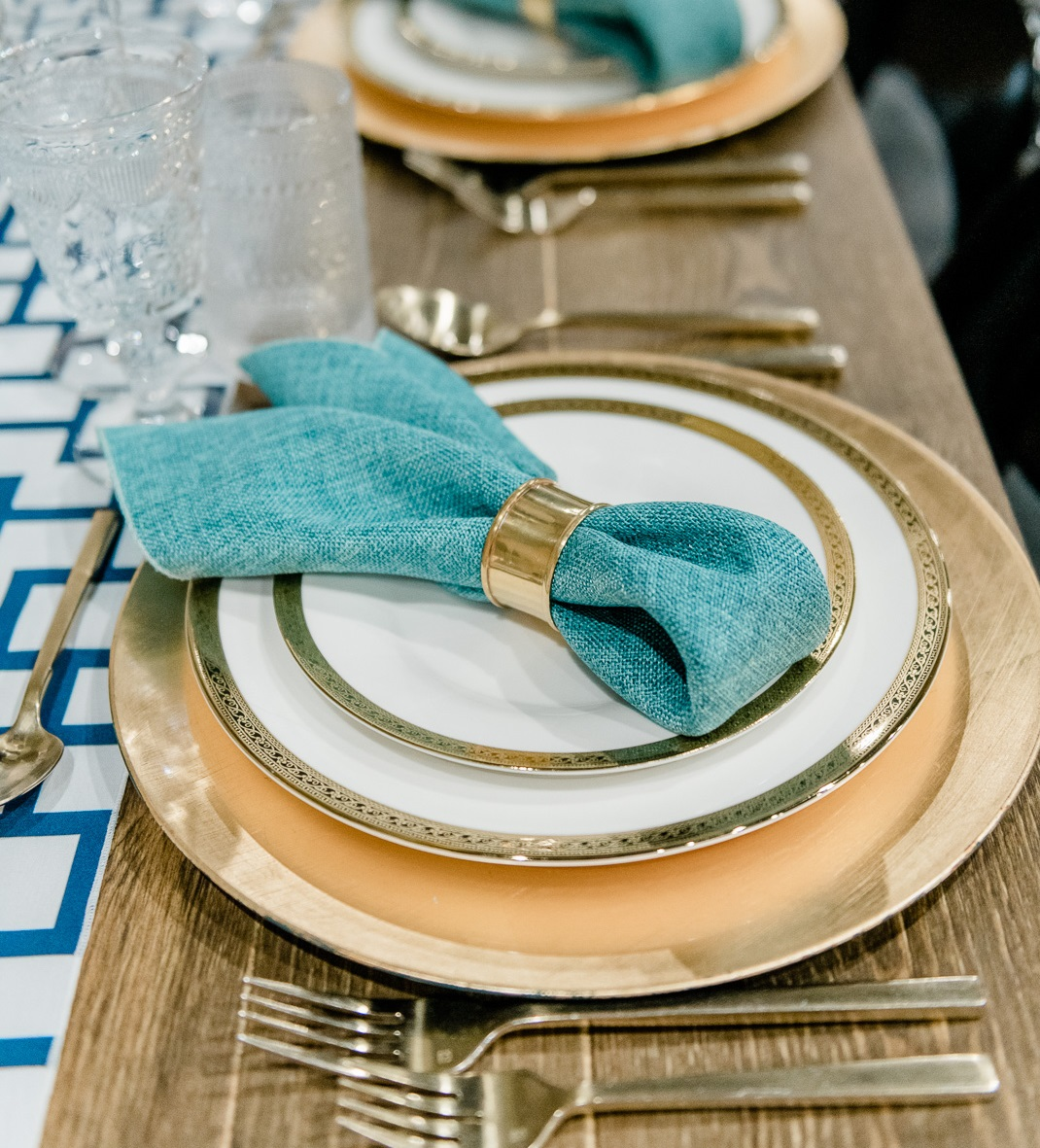 Azure Vintage Linen Napkin, Blue Linen Napkin
