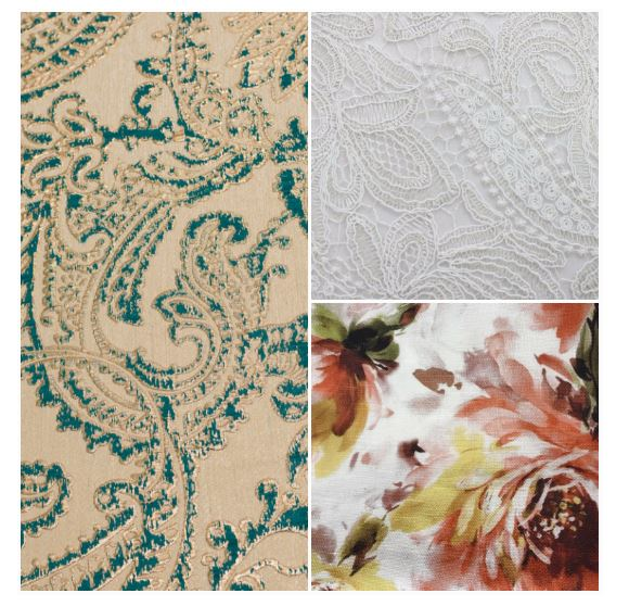 Teal & Gold Martinique Linen, White Lace Linen, Floral Linen
