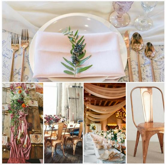 Copper Event Accents, Copper Rental Chairs, Primrose Lamour Napkin