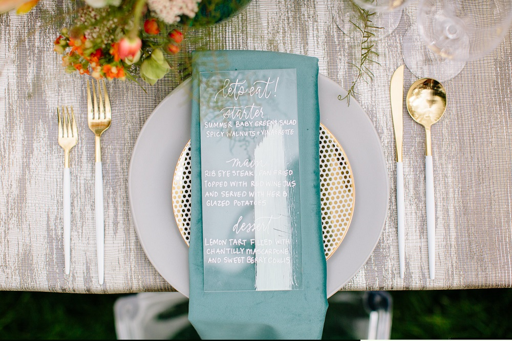 Gold Abstract Table Linen, Sky Blue Shantung Napkin, Elm Estate Wedding Venue