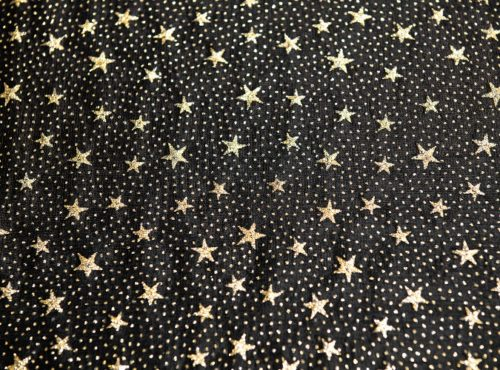 Black with Gold Stars, Sheer Black and Gold Linen