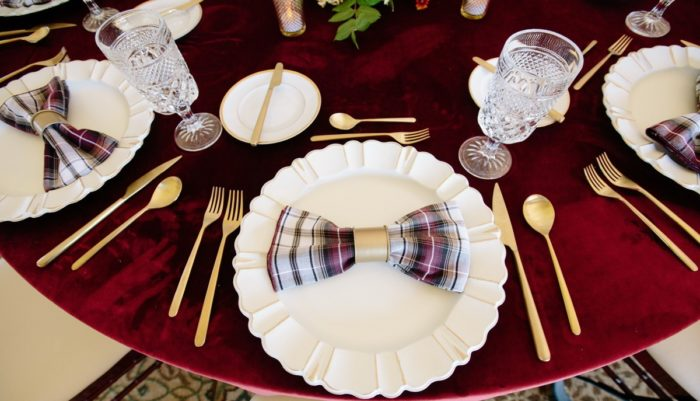 Merlot Plush Velvet Table Linen, Dark Red Velvet Table Cloth, Red Plaid Napkin
