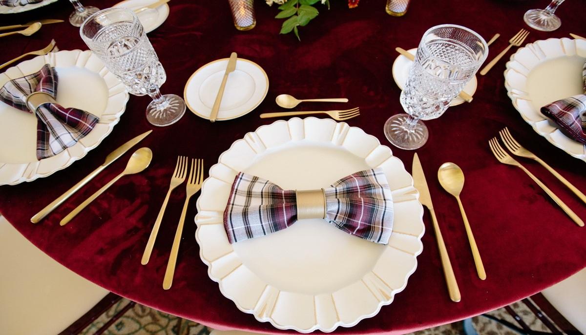 Merlot Plush Velvet Table Linen, Dark Red Velvet Table Cloth, Red Plaid Napkin