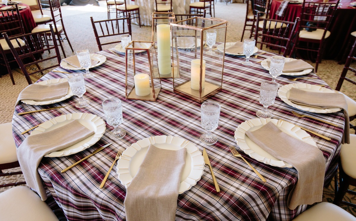 Manchester Plaid Table Linen, Red and White Plaid Table Cloth