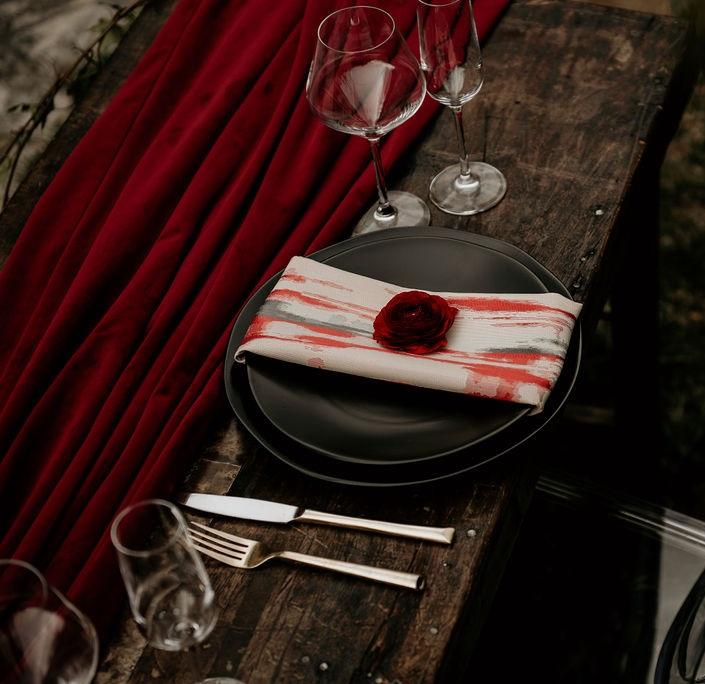 Merlot Plush Velvet Table Runner, Coral Mirage Napkin, Pink & Red Napkin, #theNAPKINmovement