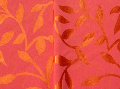 Sunset Table Linen, Pink and Orange Table Cloth, Pink Leaf Table Cloth