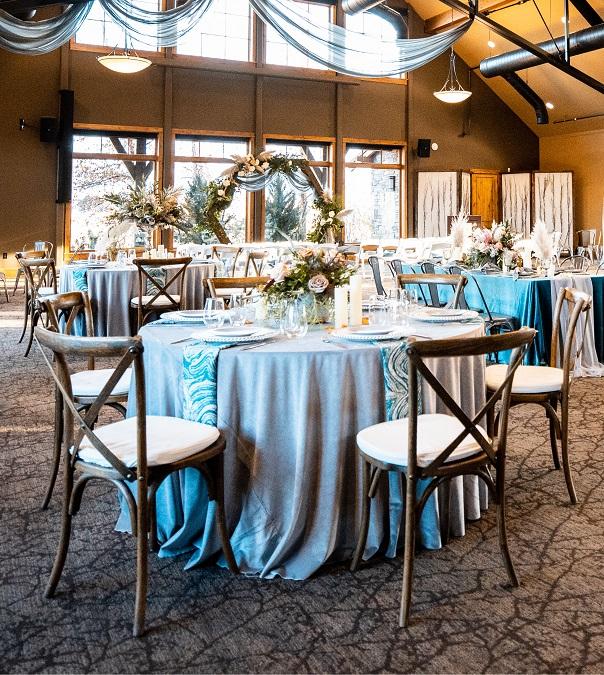 Ice Blue Plush Velvet Table Linen,