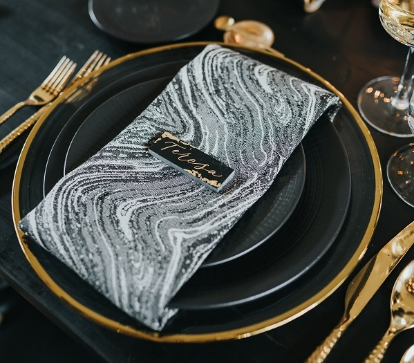 Steam Marble Napkin, Grey Swirl Table Cloth