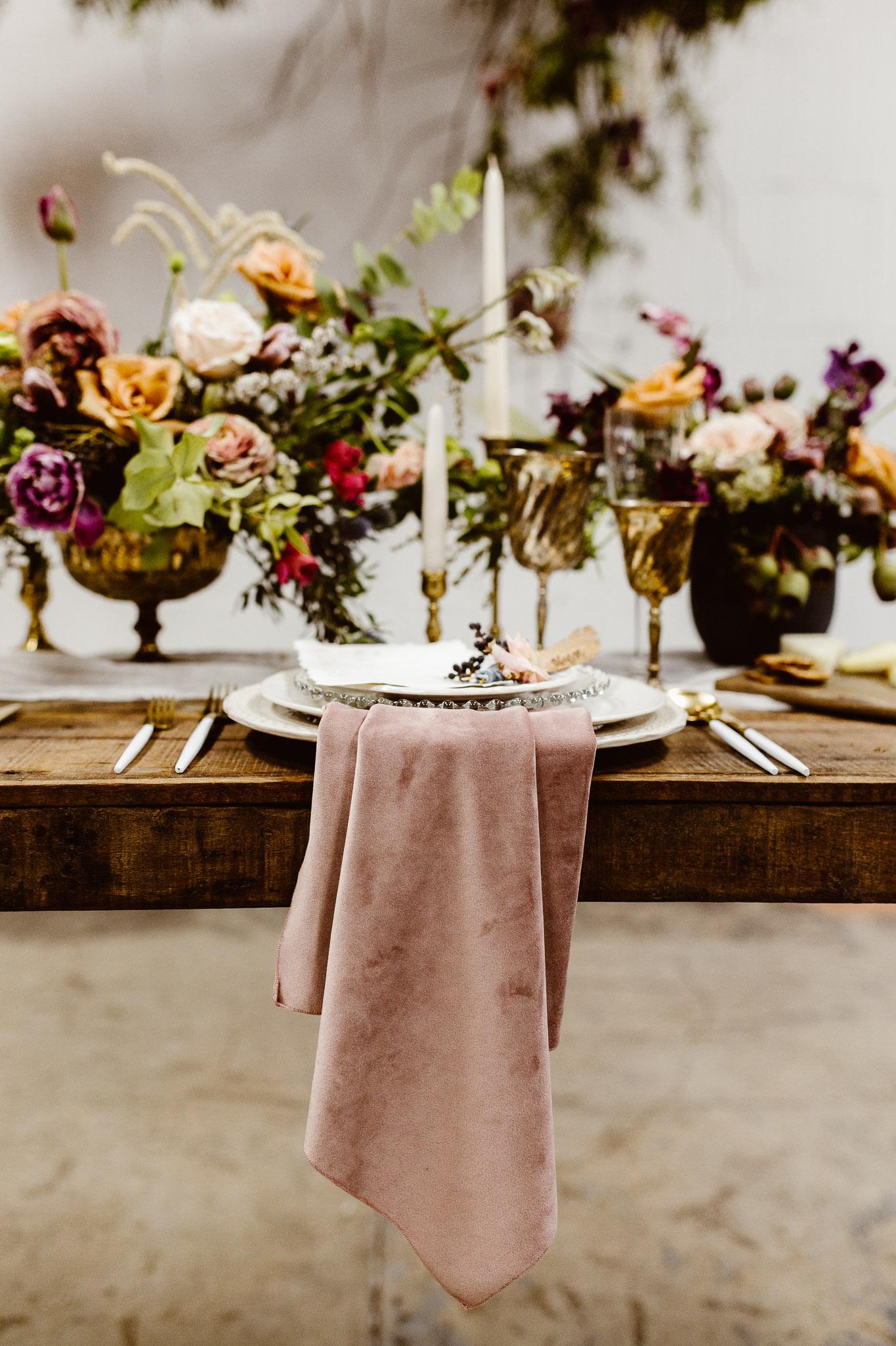 Dusty Rose Plush Velvet Napkin, Pink Velvet Table Napkin