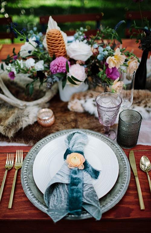 Mist Marble Napkin, Teal Swirl Table Cloth