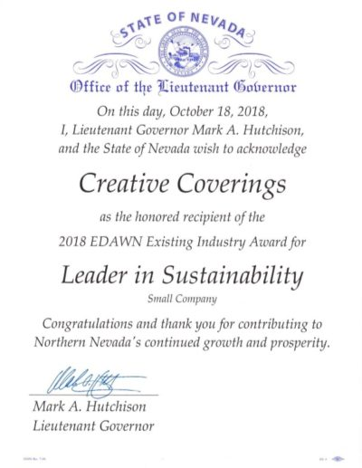 EDAWN Leader in Sustainability 2018