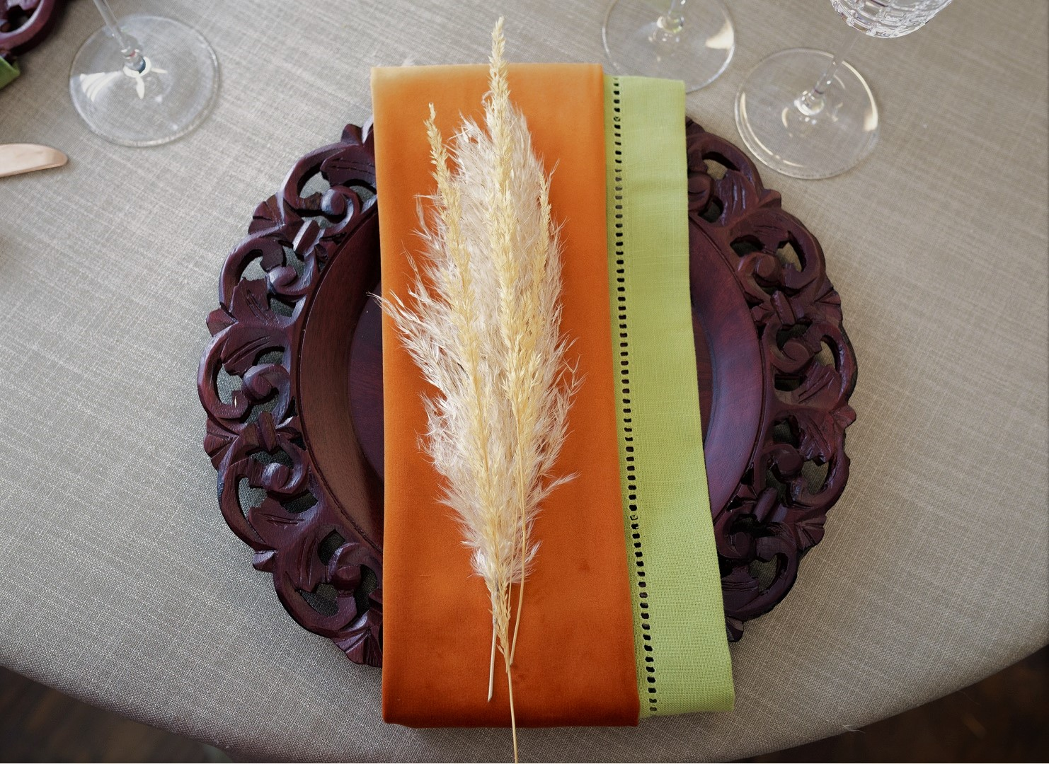 Spice Plush Velvet Napkin, Orange Velvet Table Linen