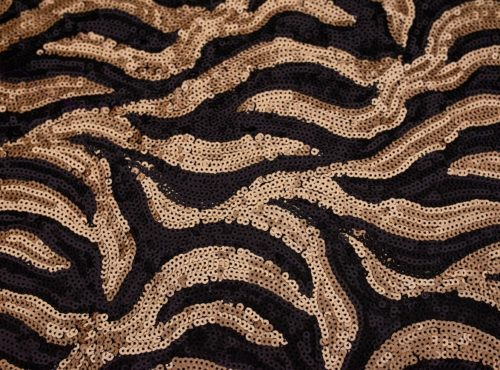 Black & Gold Jazz Sequin Table Linen, Black Gold Swirl Sequin Table Cloth