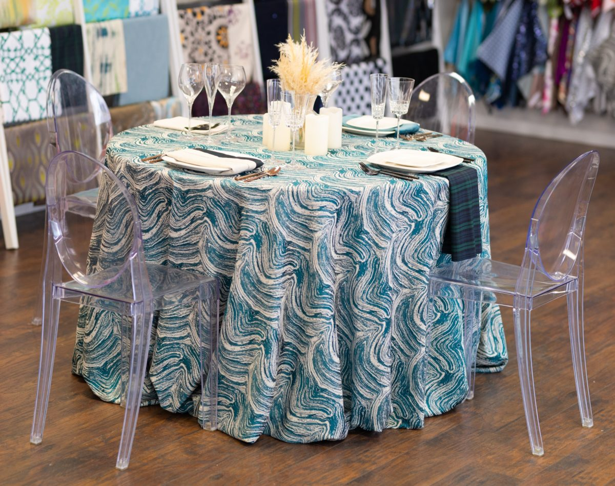 Peacock Marble Table Linen, Teal Swirl Table Cloth