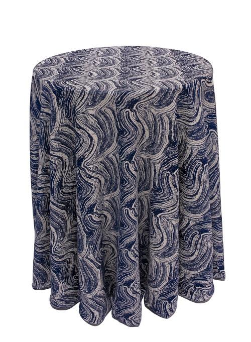 Deep Blue Marble Table Linen, Dark Blue Swirl Table Cloth