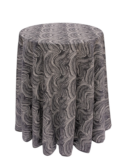 Steam Marble Table Linen, Dark Grey Swirl Table Cloth