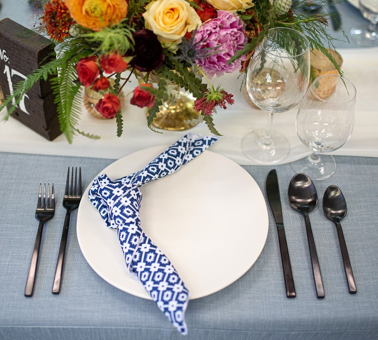 Indigo Santa Fe Napkin, Blue Geometric Table Linen
