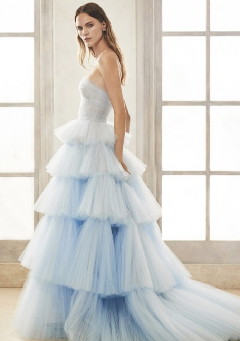 Light Blue Ruffle Oscar de la Renta Dress